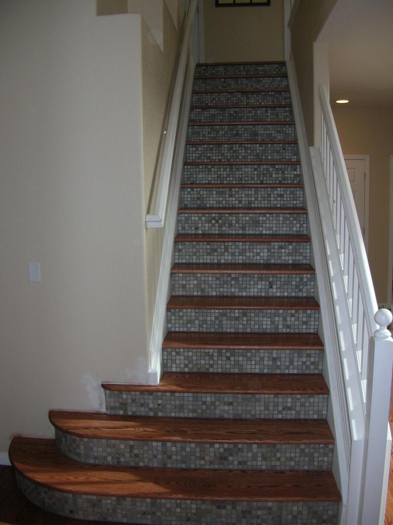 wood stairs with tile risers Quotes