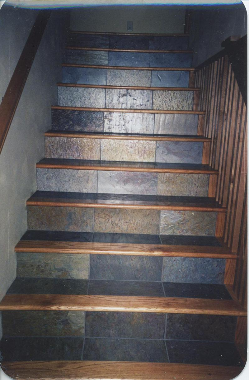 Oak steps and risers custom wood floors inc red oak and slate tile combination photos Slate tile flooring